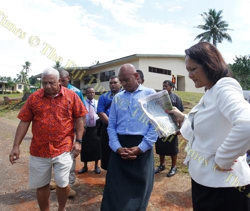 Prime Minister Voreqe Bainimarama, Navesau Adventist High School principal Sanaila Sumo and Minister for Health and Medical Services Rosy Akbar during a tour of the school in Wainibuka, Tailevu, yesterday. Picture: JONA KONATACI