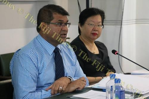 Reserve Bank of Fiji Governor, Ariff Ali makes a presentation before the committee as chief manager governor's office Lorraine Seeto looks on. Picture: SUPPLIED