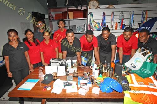 Staff members of Redox Ltd with some of their products at their shop in Sports City. Picture: JONA KONATACI