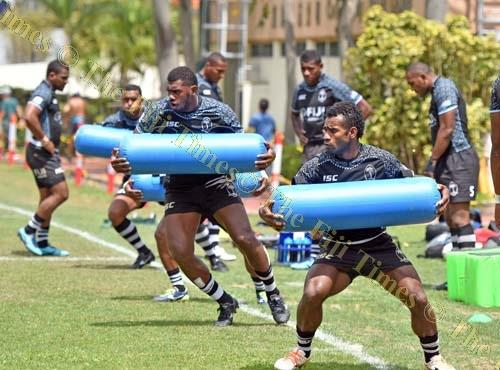 Captain Jerry Tuwai of the Fiji Airways Fiji 7s team leads his team during the captain's run at the Causeway Bay Sports ground yesterday. Picture: RAMA