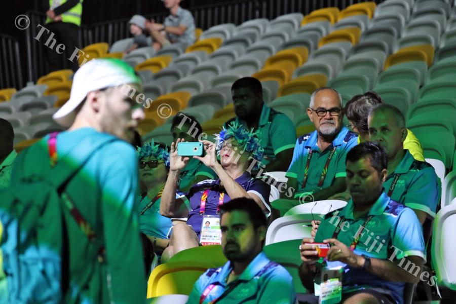 Team Fiji's chef de mission to the 2018 Commonwealth Games in Australia, Patrick Bower, sitting with glasses, with team officials during the weight-lifting event at the Gold Coast Carrara Sports & Leisure Centre. Picture: ELIKI NUKUTABU