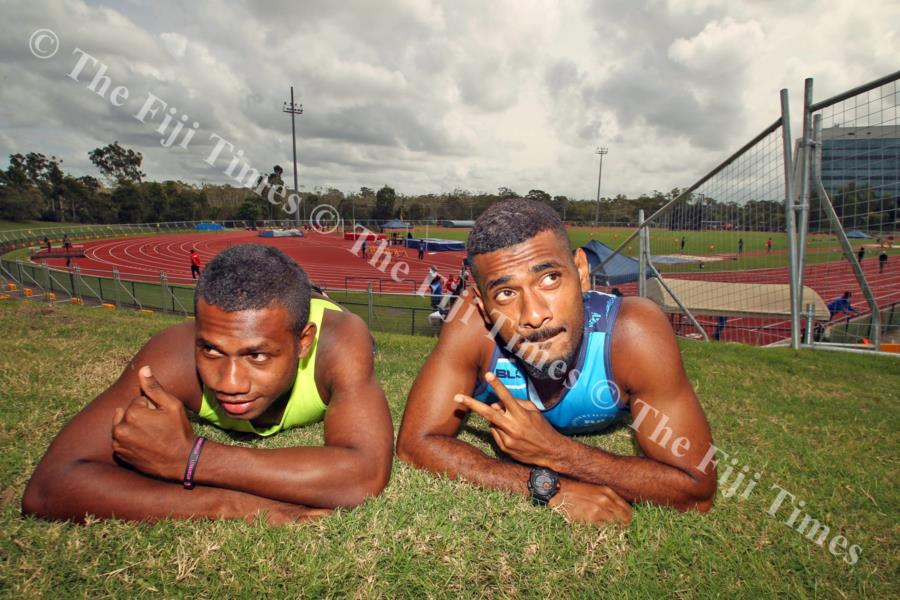 Athletes Kameli Ravudi (left) and Aaron Powell at the Griffith University tracks in Australia. Picture: ELIKI NUKUTABU
