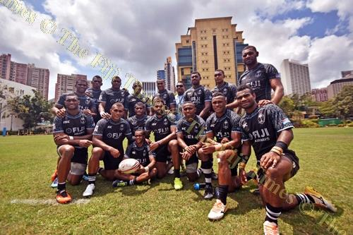 The Fiji Airways Fiji 7s team after the captains run at Causaway Bay Sports ground yesterday. Picture: RAMA