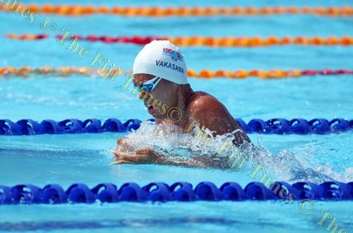 Fiji's Taichi Vakasama in action during the men's 100 metres breaststroke at the Optus Aquatic Centre in the 2018 Commonwealth Games in Brisbane, Australia yesterday. Picture: ELIKI NUKUTABU