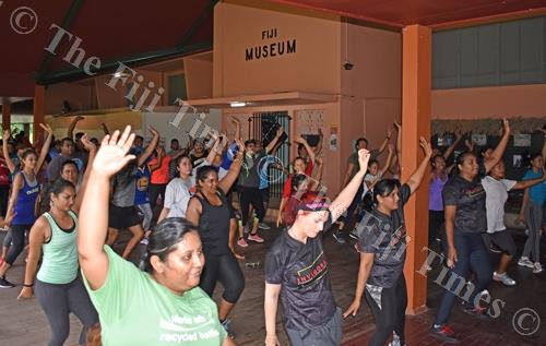 Participants during the Zumbathon organised by Save the Children Fiji at the Fiji Museum yesterday. Picture: SUPPLIED
