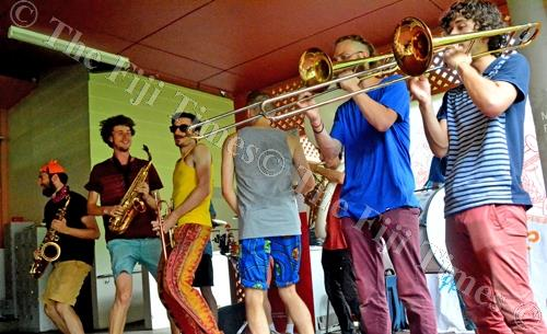 Globeshakers Project Brass Band in action yesterday. Picture: JONA KONATACI
