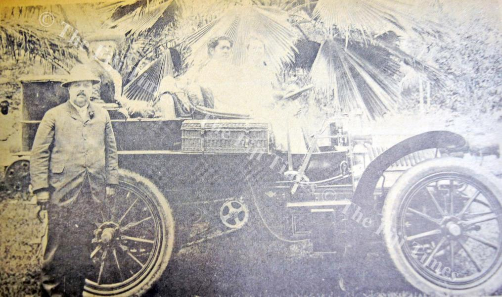 Adi Cakobau, mother of Ratu Edward Cakobau, at the wheel of the first car to come to Fiji. Mr and Mrs Charles Glidden were travelling with it around the world and were in Suva in 1905. Picture: FT FILE