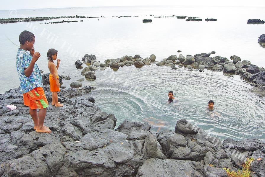 Children of Vuna Village enjoy a swim at the village shoreline. Adi Naulu originated from this village. Picture: SUPPLIED