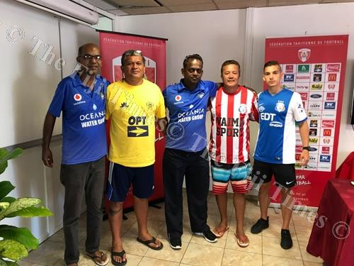 Lautoka football president Abdul Kadar (left) with coach Kamal Swamy (second from left) in Tahiti. Picture: SUPPLIED