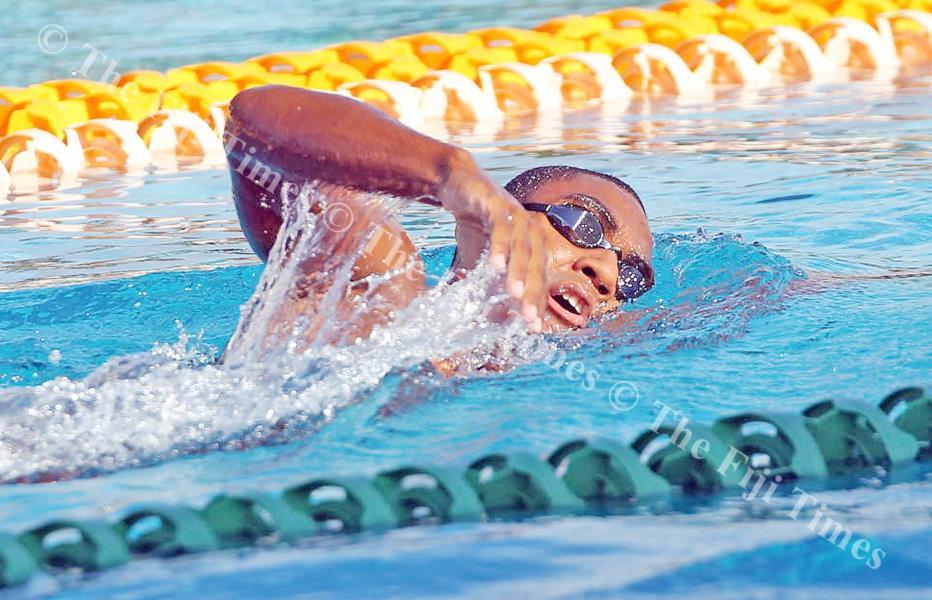 Fijian swimmer Epeli Rabua at the Damodar City Aquatic Centre in Suva. Picture: ELIKI NUKUTABU