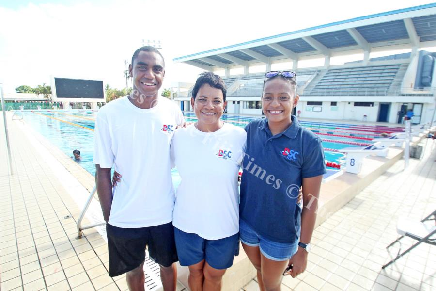 Fiji Swimming head coach Sharon Smith-Pickering is flanked by Epeli Rabua and Matelita Buadromo in Suva. Picture: Eliki Nukutabu