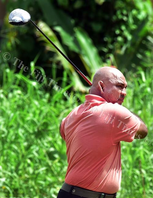 Ramesh Krishna Goundor takes a swing at the Fiji Golf Club course in Vatuwaqa yesterday. Picture: ATU RASEA