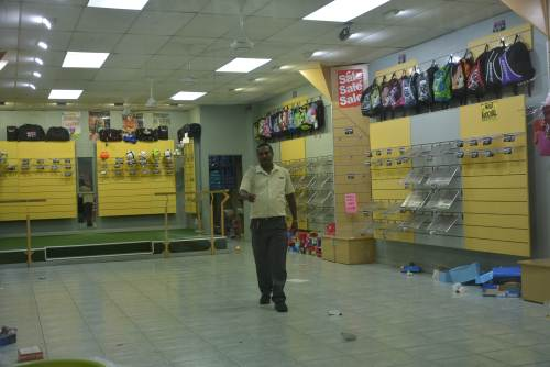 The bottom floor of Deoji's in Nadi was cleared as businesses prepare for TC Keni. Picture: BALJEET SINGH