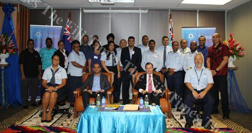 FRCS chief executive officer Visvanath Das and New Zealand High Commissioner to Fiji, Jonathan Curr with 2018 Pacific Leadership Program participants at the Regional Training Centre, Revenue and Customs Complex, Suva. Picture: SUPPLIED