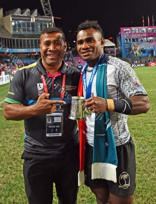 King of Sevens Waisale Serevi with the captain of Fiji Airways Fiji 7's team Jerry Tuwai after the final of the World Rugby HSBC 7s Series against Kenya in Hong Kong. Picture: RAMA