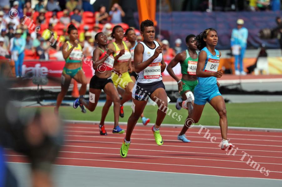 Fiji's Miriama Senokonoko keeps with other athletes in the heats of the 400 metres event at Carrara Stadium. Picture: ELIKI NUKUTABU