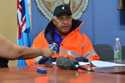Prime Minister Voreqe Bainimarama briefs the media on TC Keni's development. Picture: JOVESA NAISUA