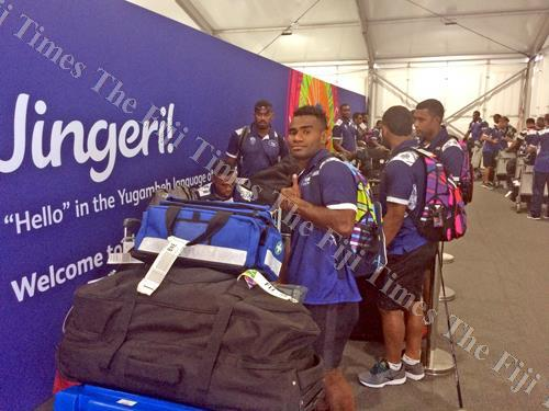 Fiji rugby 7s captain Jerry Tuwai and members of the Fiji 7s team arrive at the Commonwealth Games village in Gold Coast, Australia. Picture: SUPPLIED