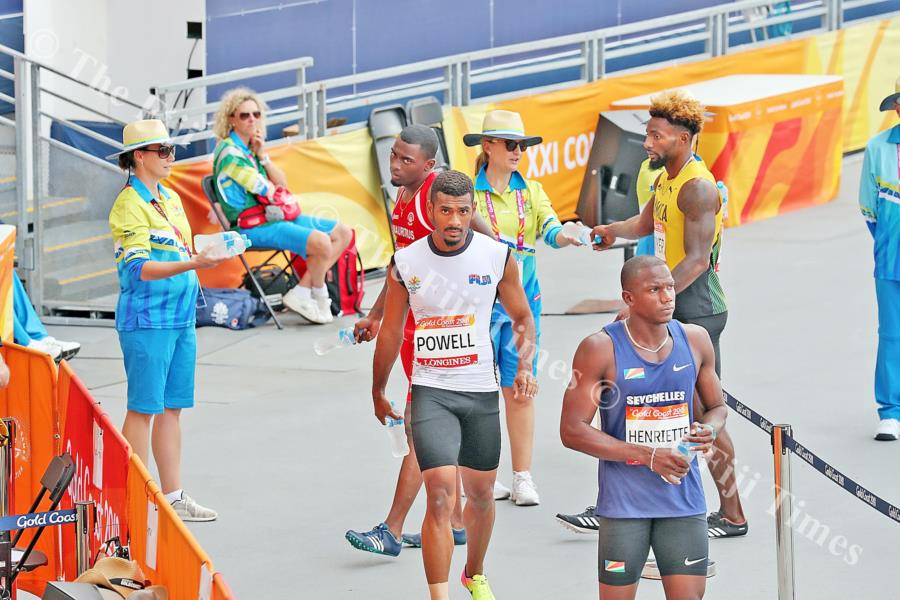 Fiji's Aaron Powell after competing in the 200 metres heats at the Carrara Stadium Picture: ELIKI NUKUTABU