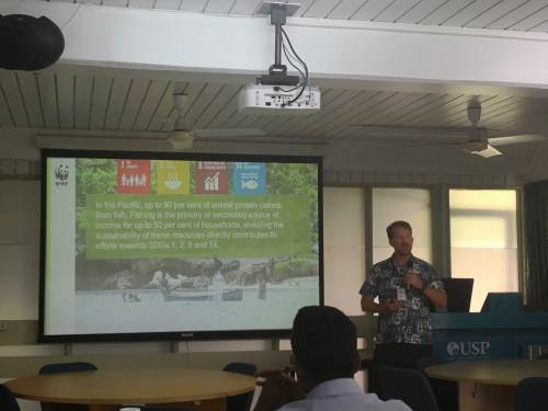 Alfred Cook describes how technology is changing how tuna is sold overseas. Picture: Lice Movono