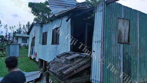 This house at Namara Village in Sanima on Kadavu had its roof blown off. Picture: SUPPLIED
