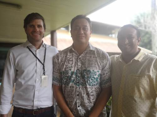 BCT TechCamp organiser Kenneth Katafono flanked by keynote speakers Tyler Mulvihill and Kishore Atreya of American tech firm ConsenSys. Picture: LICE MOVONO