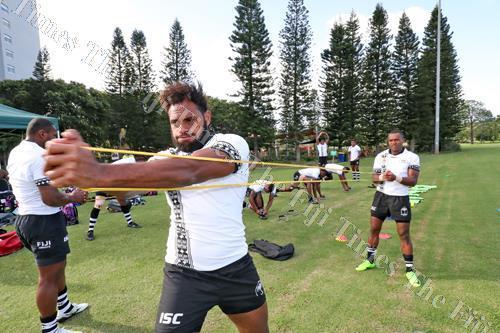 Semi Kunatani, middle, during the Fiji 7s team training session at the RACV Royal Pines Resort grounds in Carrara, Gold Coast, Australia. Picture: ELIKI NUKUTABU