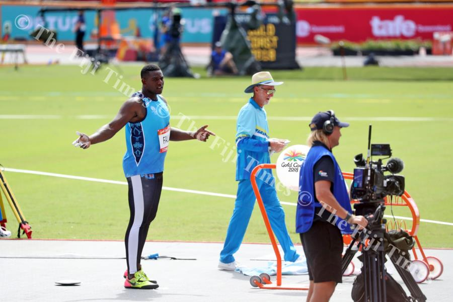 Do I need to throw again? ... Mustafa Fall reacts after his throw during the Commonwealth Games in Gold Coast, Australia. The Fijian powerhouse qualified for the final. Picture: ELIKI NUKUTABU
