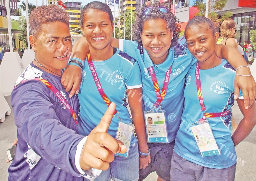 Lifters, from left, Apolonia Vaivai, Maria Mareta, Eileen Cikamatana and Seruwaia Malani at the Games Village in Gold Coast, Australia. Picture: ELIKI NUKUTABU