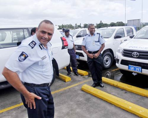 Commissioner of Police Brigadier-General Sitiveni Qiliho with the new Police veichles following the hand over at Fiji Police Headquarters yesterday. Picture: Jona Konataci