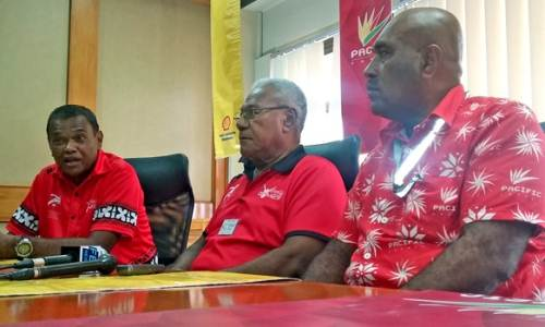 Coca-Cola Amatil Fiji marketing manager Lawrence Tikaram, Fiji Secondary Schools Athletics Association general secretary Vuli Waqa and Pacific Energy Commercial Business Manager Nemani Kobiti earlier today. Picture: Supplied