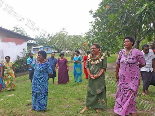 Minister for Women Mereseini Vuniwaqa with women of Saqani in Cakaudrove yesterday. Picture: SERAFINA SILAITOGA