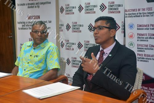 Minister for Industry, Trade and Tourism Faiyaz Koya (left) with Fijian Competition and Consumer Commission chief executive officer Joel Abraham during the announcement on the new fuel prices in Nadi yesterday. Picture: REINAL CHAND