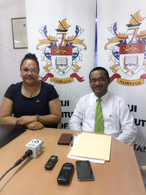 Fiji Institute of Accountants (FIA) president Finau Nagera and FIA congress organising committee chair Rajeshwar Singh after a media briefing last month. Picture: SUPPLIED