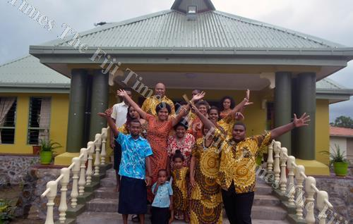 Families from Levuka, Nabukelevu and Kadavu who have traditional ties to Viseisei, Vuda celebrate after the opening of the Nakelo House behind them. Picture: BALJEET SINGH