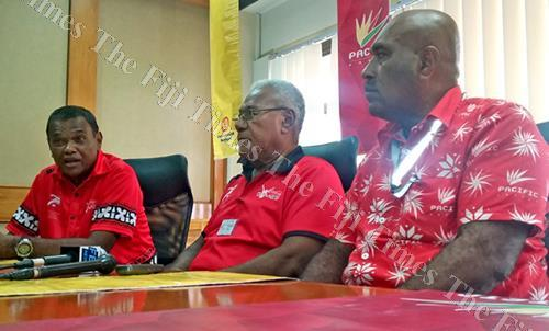 Coca-Cola Amatil Fiji marketing manager Lawrence Tikaram, far left, with FSSAA general secretary Vuli Waqa with Pacific Energy's Nemani Kobiti and Tapuaki Finauga during a press conference in Suva yesterday. Picture: SUPPLIED