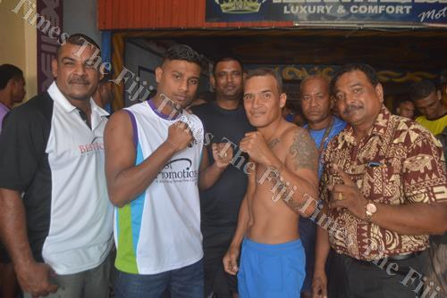 Kiran Boxing Promotions' Krishna Mudliar (left) with boxer Ronald Naidu, Boxing Commission of Fiji west director Usman Ali, boxer Ratu Rakuro Daunivavana and promotion manager Shelvin Singh pose for a photo after the weigh-in in Lautoka yesterday. Picture
