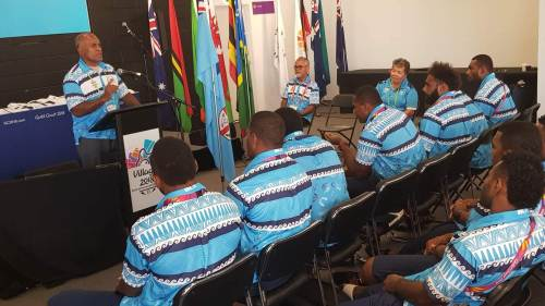 Fiji's Minister for Youth and Sports Laisenia Tuitubou addresses the 7s boys at their jersey presentation on the Gold Coast in Australia this morning. Picture: SUPPLIED