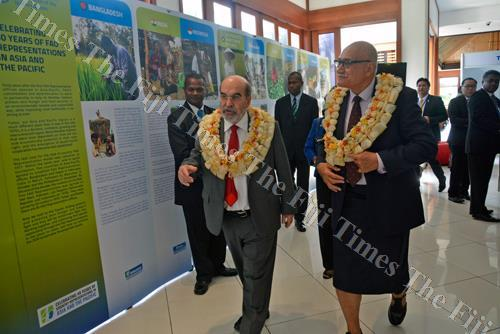President of Fiji Jioji Konrote, right, with Food and Agriculture Organization (FAO) UN director general Jose Graziano Da Silva tour the agriculture booth during the 34th Session of the FAO Asia Pacific Regional Conference in Nadi. Picture: REINAL CHAND