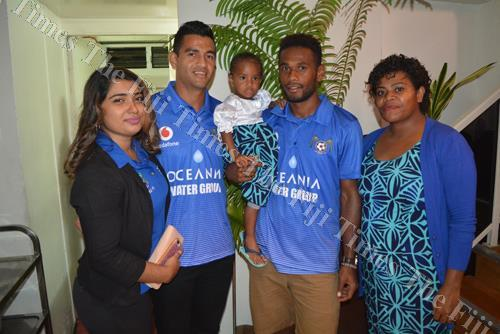 Lautoka's Zibraz Sahib (second from left) and Fiji FA Footballer of the Year Dave Radregai with wife Naomi and daughter Salote. Picture: JONACANI LALAKOBAU