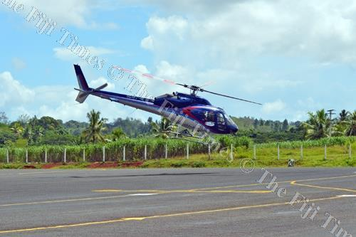 A helicopter lifts off from Labasa Airport at Waiqele outside Labasa Town. Picture: LUKE RAWALAI