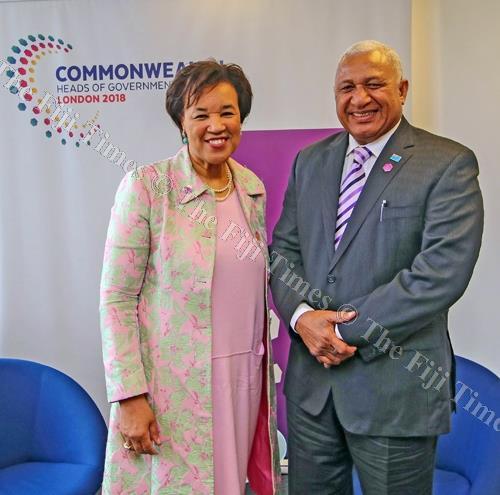 Commonwealth secretary general Baroness Patricia Scotland with Prime Minister Voreqe Bainimarama. Picture: SUPPLIED