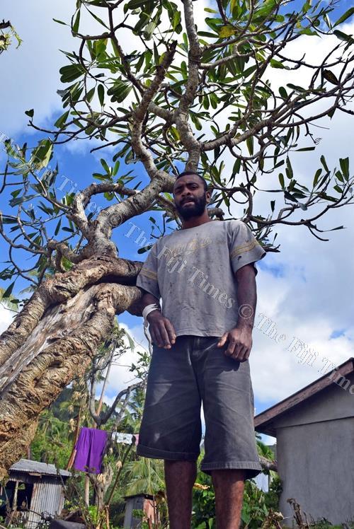 Tomasi Ratulevu stands next to the frangipani tree where a three-metre wave dumped him during the height of Severe Tropical Cyclone Keni at Dagai Village on Kadavu. Picture: SIKELI QOUNADOVU