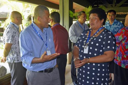 Fiji National University?s representative Dr William May (left) speaks with Pacific Community?s (SPC) Dr Salanieta Saketa during the 6th Heads of Health Meeting at Denarau in Nadi this morning. Picture: REINAL CHAND