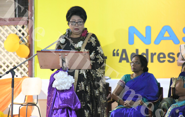 Assistant Minister for Women, Children and Poverty Alleviation Veena Bhatnagar delivering her speech at the 59th Sanatan Annual Convention in Samabula, Suva. Picture: SUPPLIED