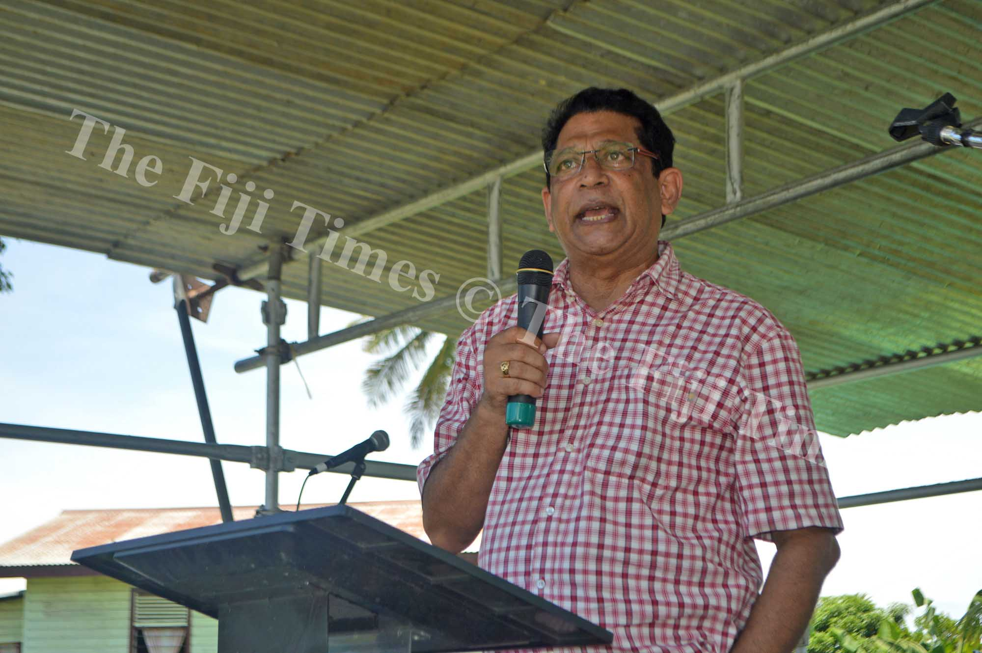 Fiji Public Service Association General Secretary Rajeshwar Singh speaks at the Air Terminal Services March in Nadi. Picture: Shayal Devi
