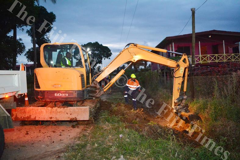 Fulton Hogan contractors widening the drains to imrpove the drainage in Koronivia, Nausori. Picture: JOVESA NAISUA