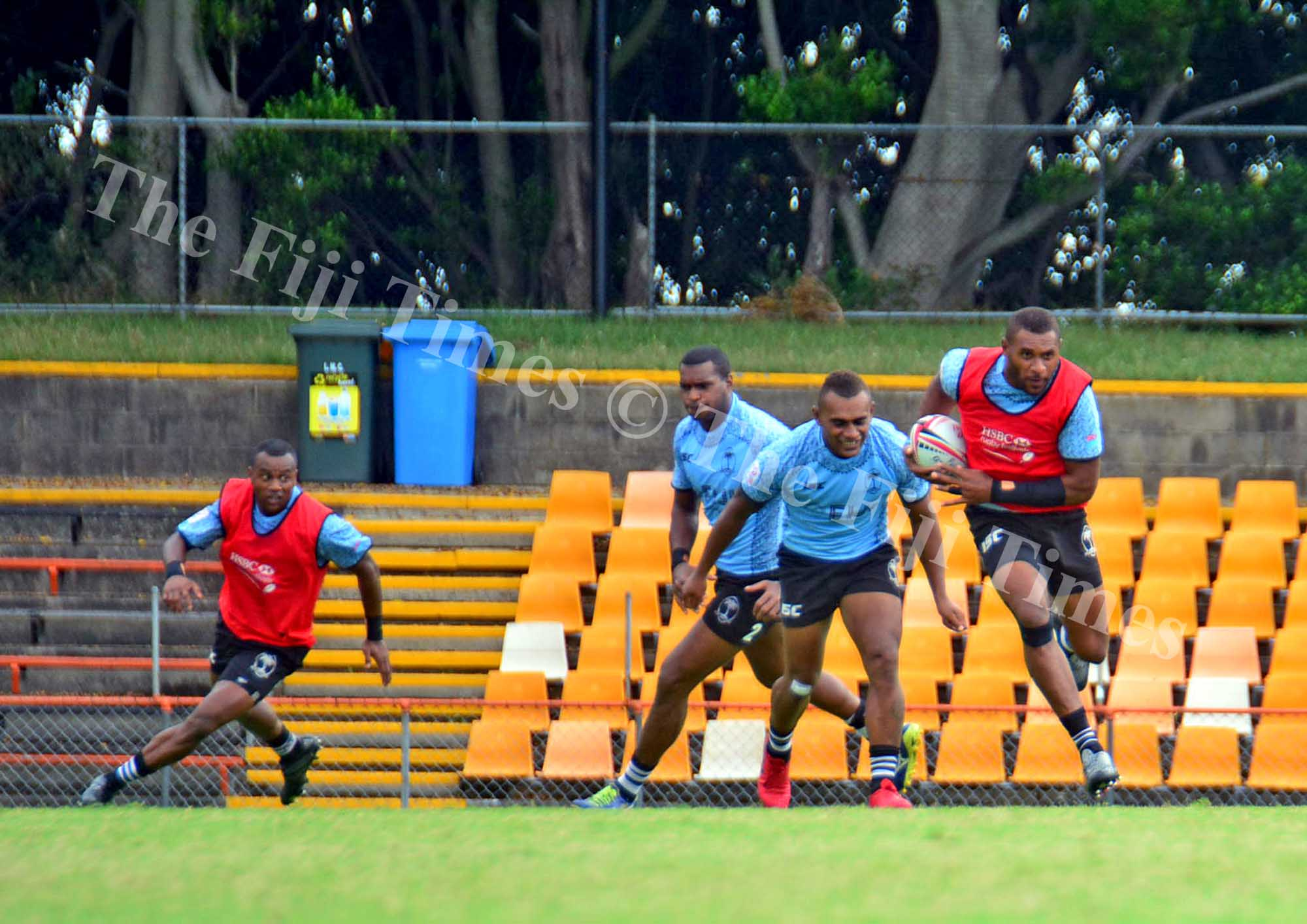 Jasa Veremalua breaks the line of defence during the Fiji Airways Fiji 7s team training at the Leichhardt Oval ground in Sydney, Australia on Thursday, January 25, 2018. Picture: JONACANI LALAKOBAU