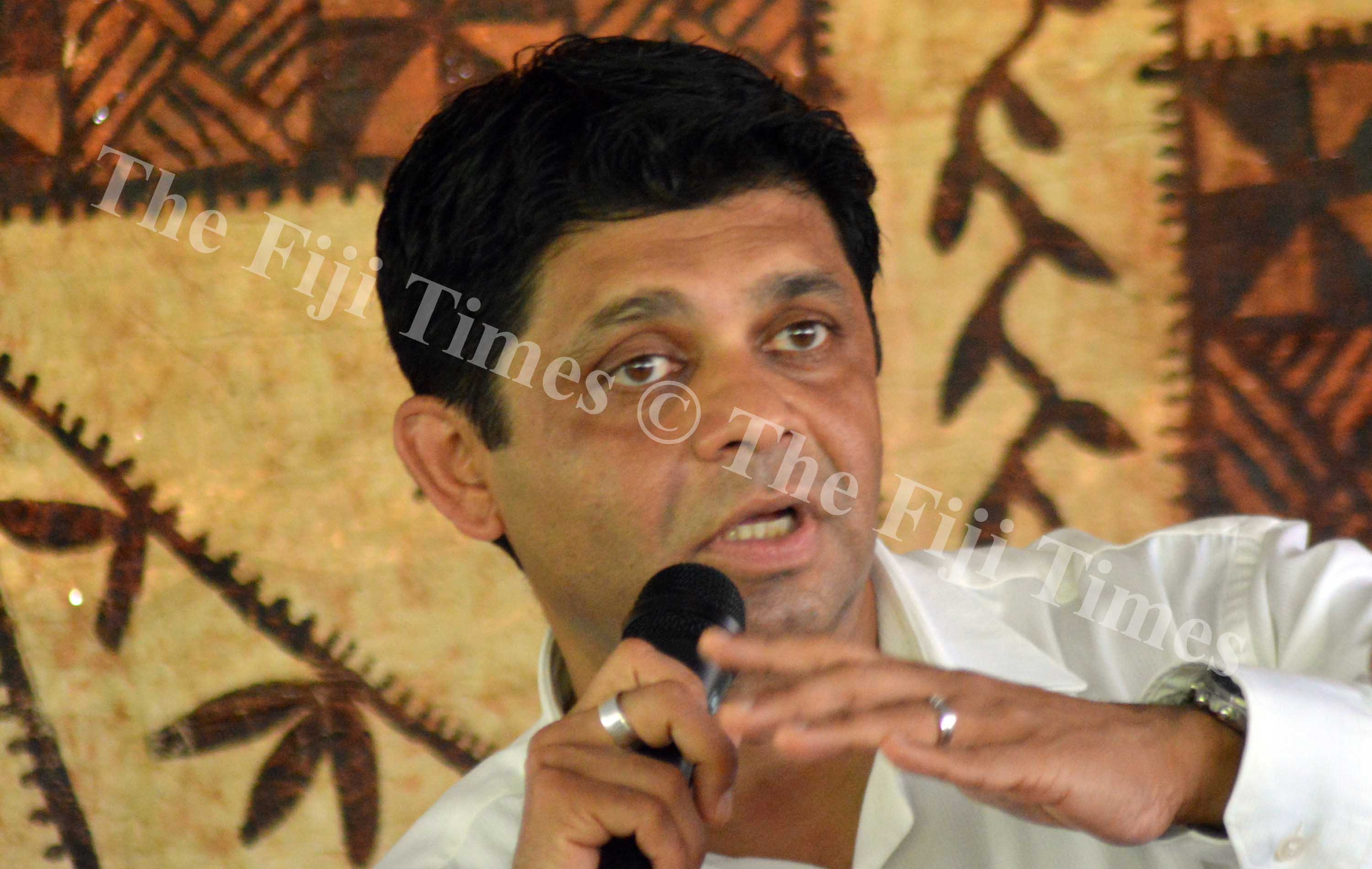 Attorney General Aiyaz Sayed-Khaiyum stresses on a point in Navakawau. Piicture LUKE RAWALAI