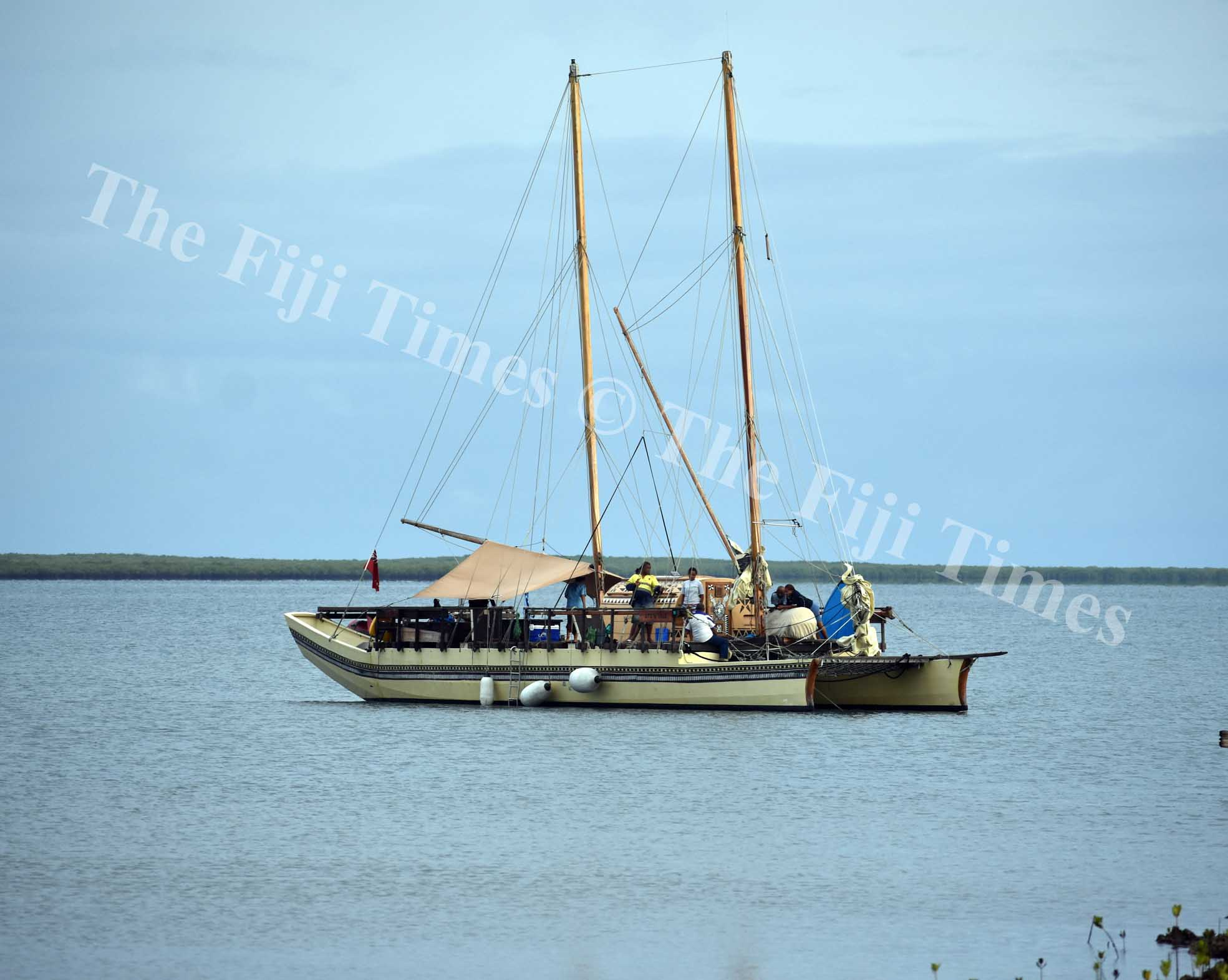 The Uto Ni Yalo  berthed at the shores of Naduri village in Macuata. Picture: SUPPLIED.